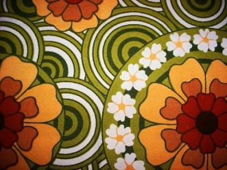 Vintage 1960s small square tablecloth retro