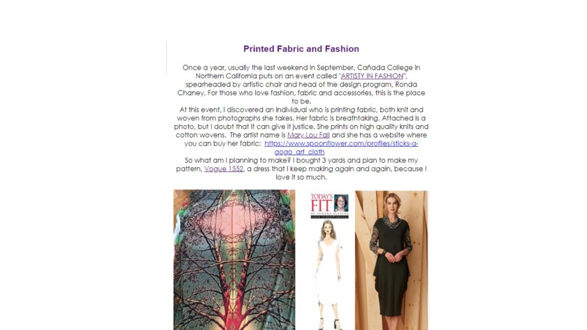 Sandra Betzina's Newsletter